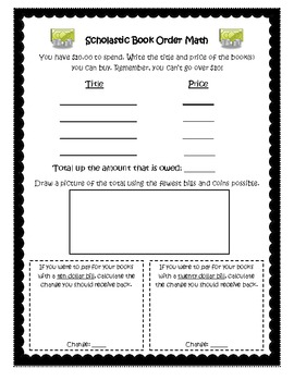 Scholastic Book Order Math Sheet