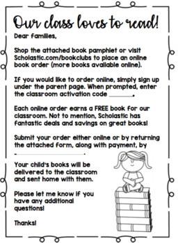 Scholastic Book Order Parent Letter