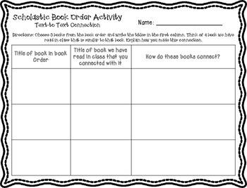 Scholastic Book Order Printable Activities!