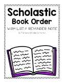 Scholastic Book Order Wish List and Reminder Note