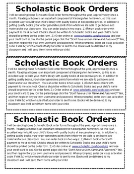 Scholastic Book Orders Hand out - Editable