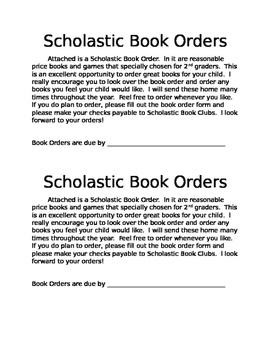 Scholastic Book Orders Note