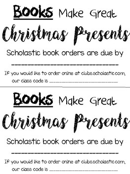 Scholastic Books Make Great Christmas Presents Note FREEBIE