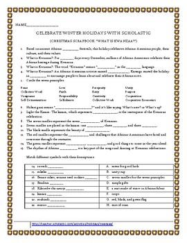 "Scholastic ""Celebrate Winter Holdiays"" Kwanzaa"