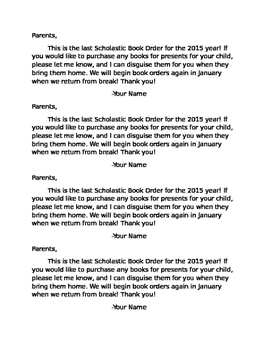 Scholastic Christmas Book Letter to Parents
