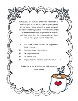 Scholastic December Cover Letter