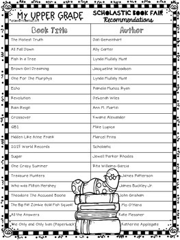 FREEBIE Scholastic Finds For Upper Graders List