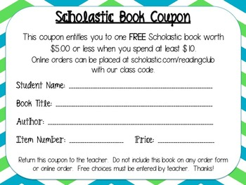 Scholastic Free Book Coupons (Use Your Points to Increase
