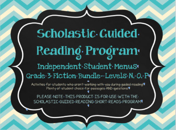 Scholastic Guided Reading Short Reads Fiction Menu 3rd Grade Bundle