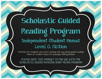 Scholastic Guided Reading Short Reads Fiction Menu Level O