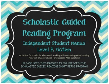 Scholastic Guided Reading Short Reads Fiction Menu Level P