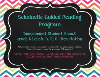 Scholastic Guided Reading Short Reads Nonfiction Menu 4th Grade Bundle