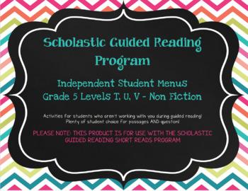 Scholastic Guided Reading Short Reads Nonfiction Menu 5th Grade Bundle