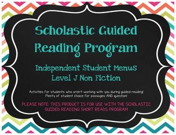 Scholastic Guided Reading Short Reads Nonfiction Menu Level J