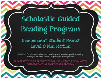 Scholastic Guided Reading Short Reads Nonfiction Menu Level O