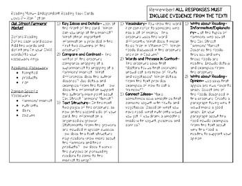 Scholastic Guided Reading Short Reads Nonfiction Menu Level P