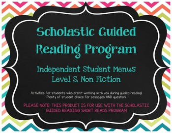 Scholastic Guided Reading Short Reads Nonfiction Menu Level S