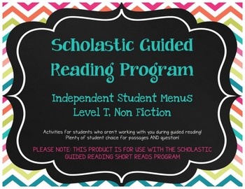 Scholastic Guided Reading Short Reads Nonfiction Menu Level T