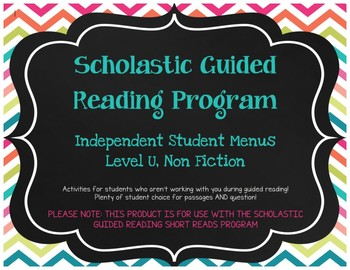 Scholastic Guided Reading Short Reads Nonfiction Menu Level U