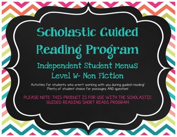 Scholastic Guided Reading Short Reads Nonfiction Menu Level W