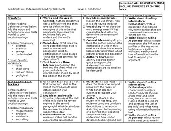 Scholastic Guided Reading Short Reads Nonfiction Menu Level X
