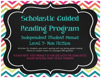 Scholastic Guided Reading Short Reads Nonfiction Menu Level Y