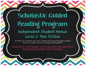 Scholastic Guided Reading Short Reads Nonfiction Menu Level Z