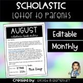 Scholastic Letter to Parents {EDITABLE}