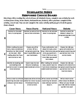 Scholastic News Response Choice Board
