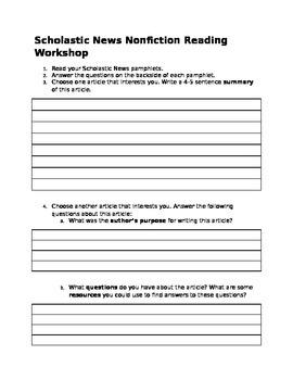 Scholastic News Response Sheet