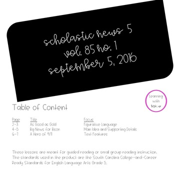 Scholastic News Small Group Lesson Plans: September 5, 2016