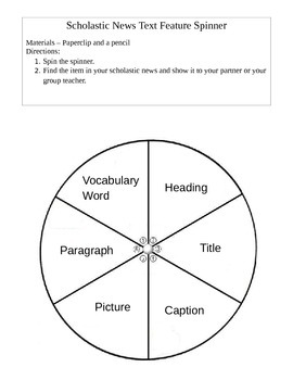 Scholastic News Text Feature Spinner
