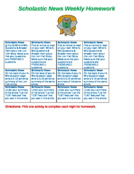 Scholastic News Weekly Homework Reading Agenda