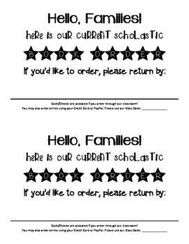 Scholastic Note to accompany orders