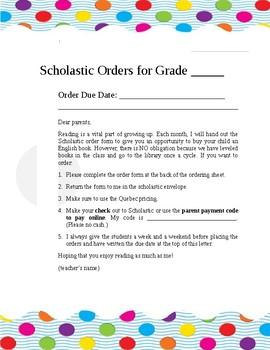 Scholastic Order Form Memo for Parents by Dominique Villeneuve | TpT