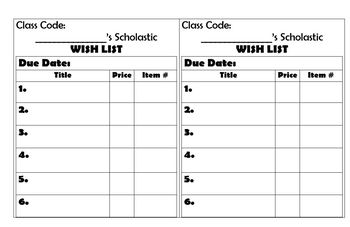 Scholastic Order Wish List *Editable Version*