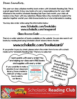 Scholastic Reading Club Letter to Parents with Monthly Flyers/Stickers