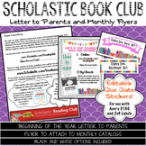 Scholastic Reading Club Letter to Parents with Monthly Fly