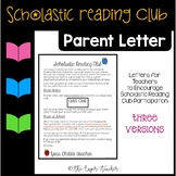 Scholastic Reading Club Parent Letter