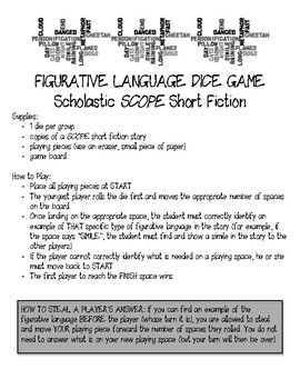 Scholastic SCOPE Fiction Figurative Language Dice Game