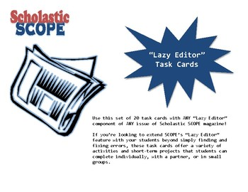 "Scholastic SCOPE ""Lazy Editor"" Task Cards"