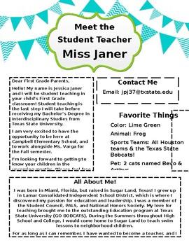 Meet the STUDENT Teacher - Parent Letter
