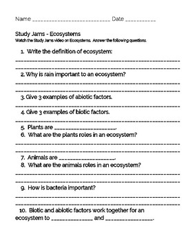Scholastic Study Jams student note sheets on Ecosystems