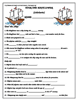 Scholastic Tour the Mayflower Worksheet: Thanksgiving