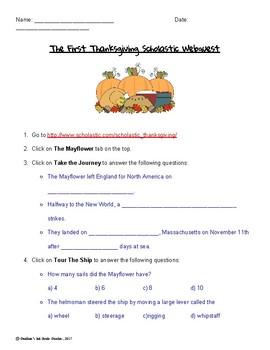 Scholastic Webquest First Thanksgiving
