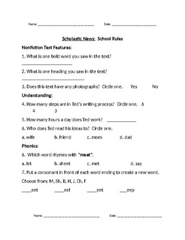 Scholastic Weekly News Activity Worksheets