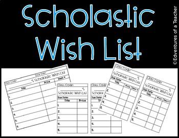 Scholastic Book Order Wish List (Editable)
