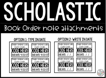Scholastic book order note attachments