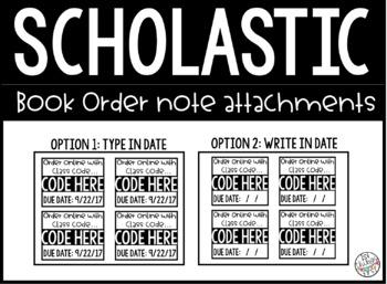 Scholastic book order note attachments