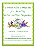 Reading Intervention Program Lesson Plan Template